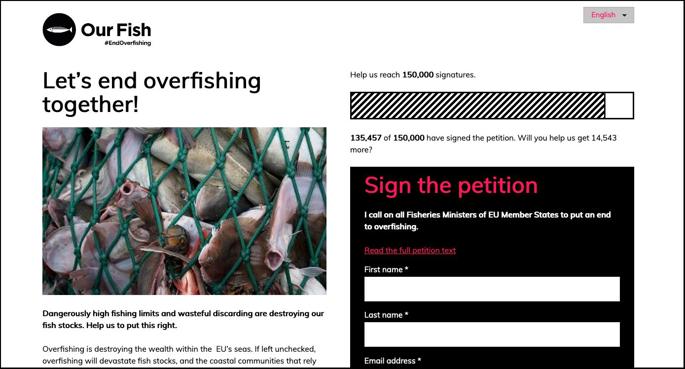 A petition page from Our Fish